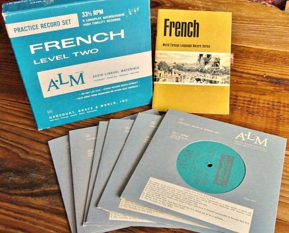 vintage french language instruction set of 8 records and manual rh pinterest com