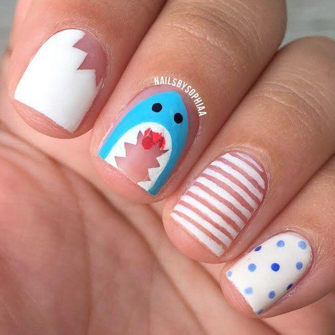 Negative Space Shark Nail Art. #sharkweek | Trendy Nails, Hair, and ...