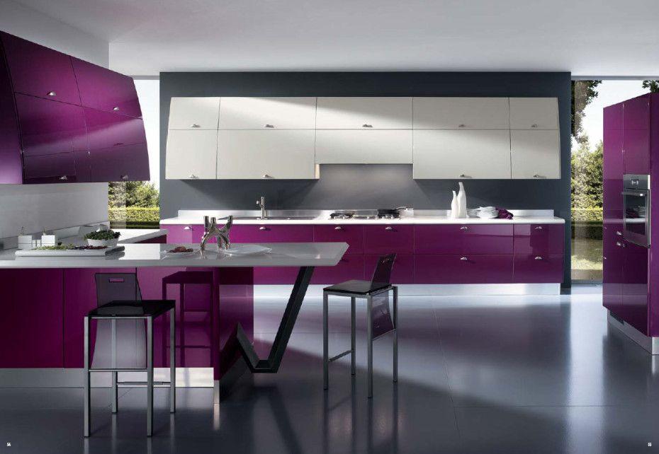 Contemporary Kitchen Design for Modern House: Kitchen Cabinet 2 Chairs Glass Closet Kitchen Table Purple Closet ~ apcconcept.com Kitchen Designs Inspiration