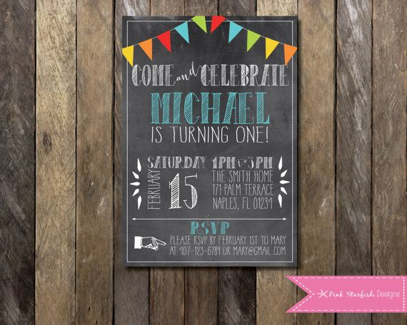 Printable Chalkboard First Birthday Invitation 1st Birthday Etsy Einladung Kindergeburtstag Einladung Geburtstag Geburtstag Kreidetafel