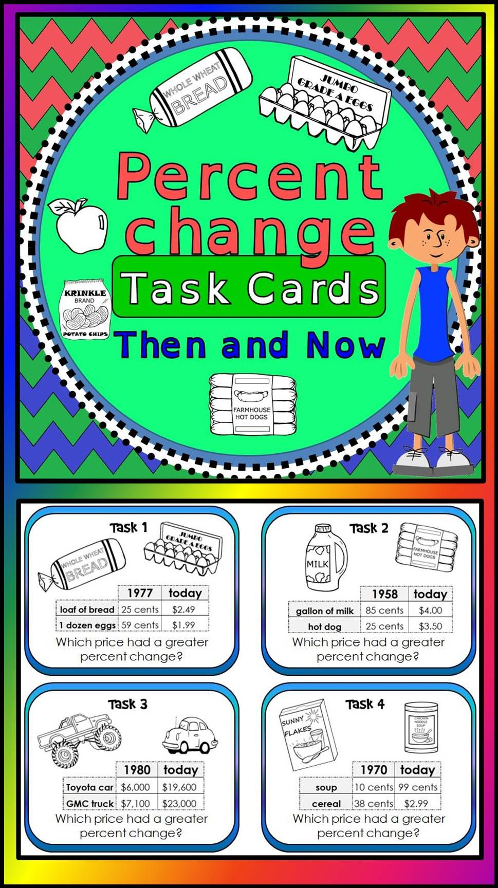 Percent Change Task Cards - print and digital for distance learning    Middle school math classroom [ 1728 x 969 Pixel ]