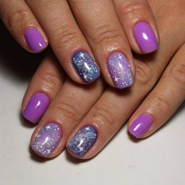 Galaxy nails, Gradient manicure with gel polish, Gradient nails 2016, Ideas of gradient nails, Interesting nails, Jeans nails, Magic nails, Nails with stars