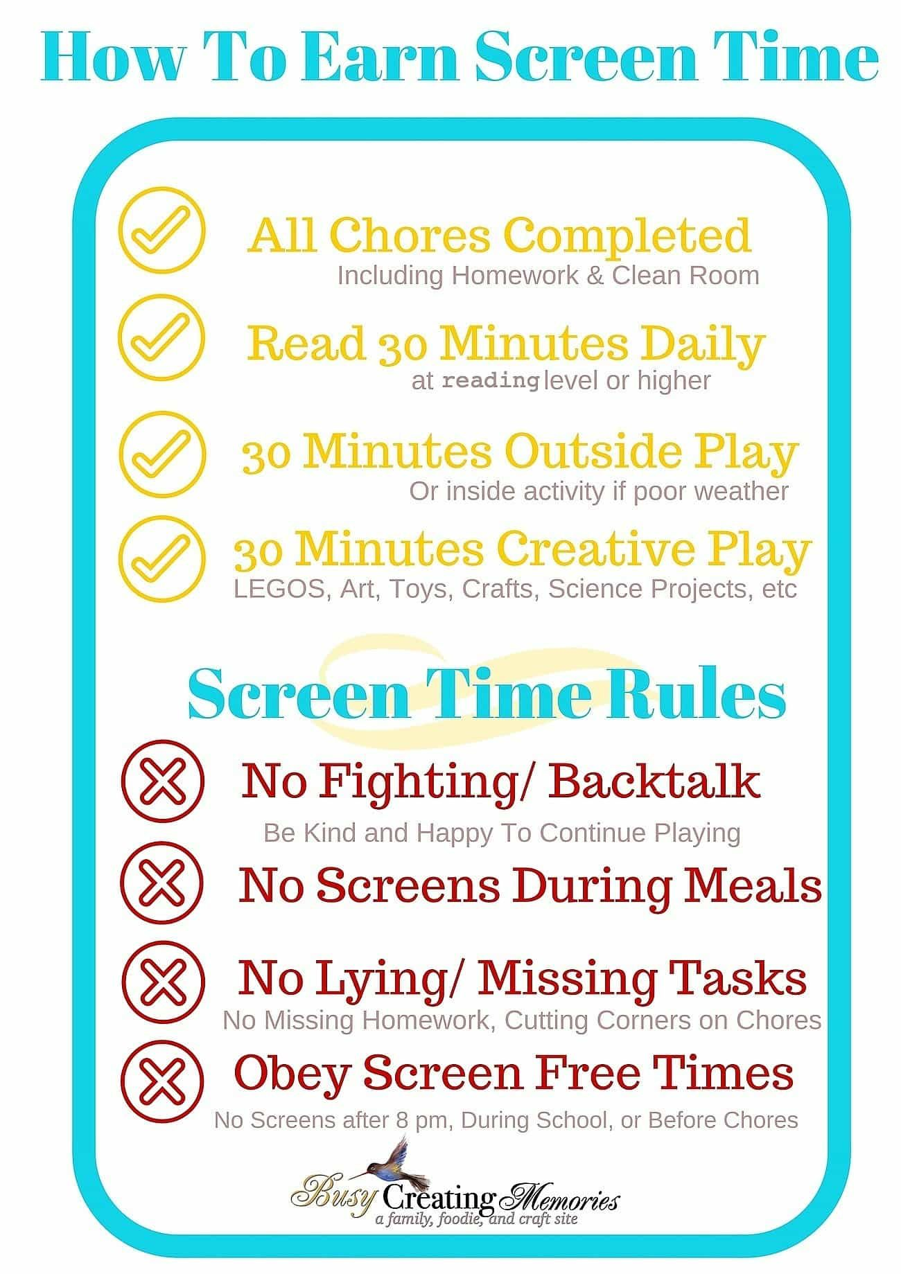 Get A Free No Screen Time Until Amp Rules Printable
