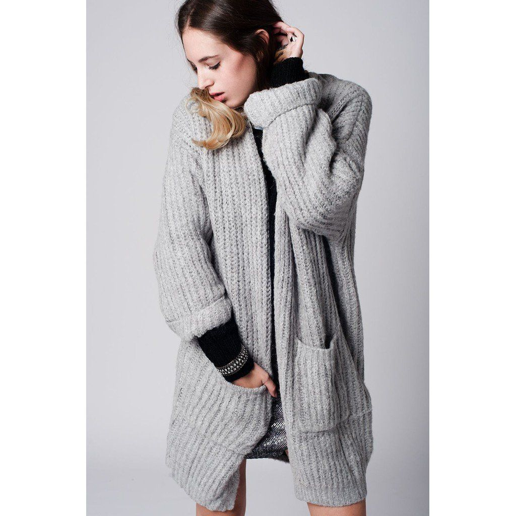 Gray Chunky Knit Longline Cardigan with pockets | cubicashop.com ...