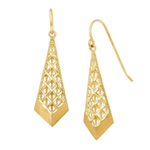 178e5a89d71 Just Gold Mesh Chevron Drop Earrings in 10K Yellow Gold
