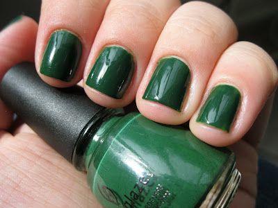 Polish Etc Bring On The Green China Glaze Holly Day Green Nails Dark Green Nail Polish Dark Green Nails