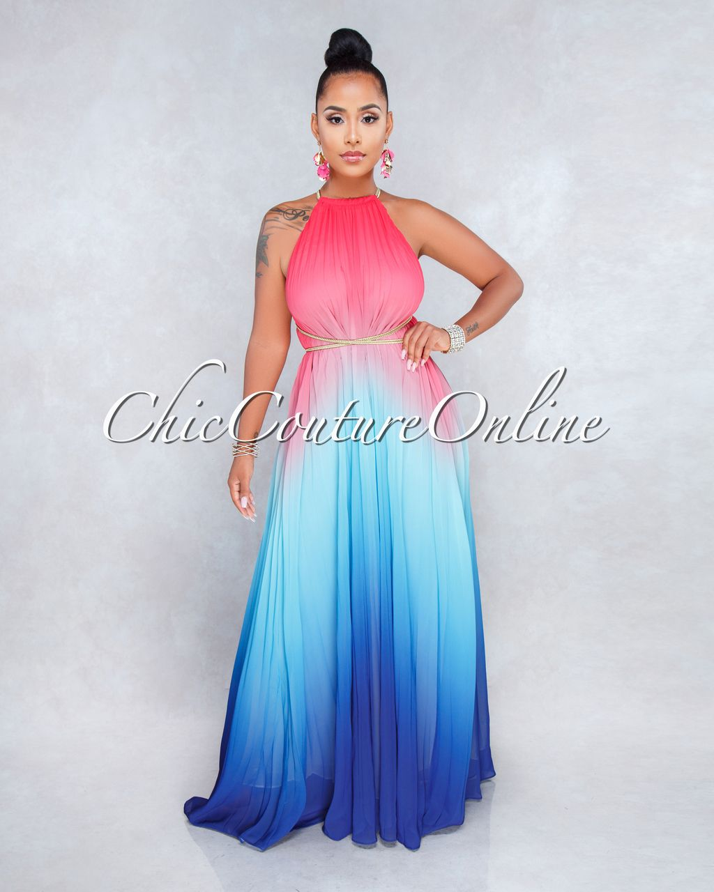 6b28cedbc Chic Couture Online - Lose Control Pink Blue Ombre Halter Maxi Dress,  (https: