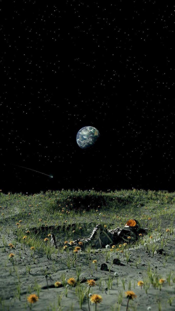 Moon Garden Astronaut - IPhone Wallpapers
