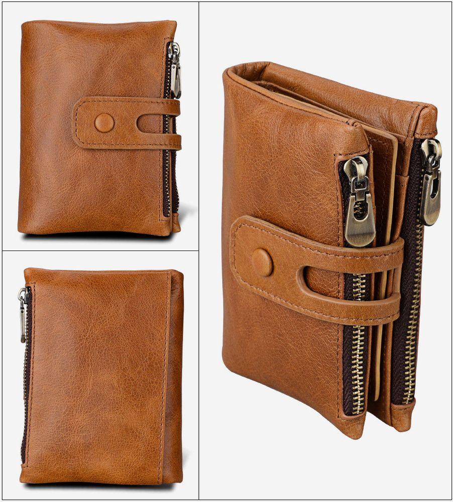 Genuine Leather Men Wallet Zipper/&Hasp Male Short Coin Purse RFID Antimagnetic