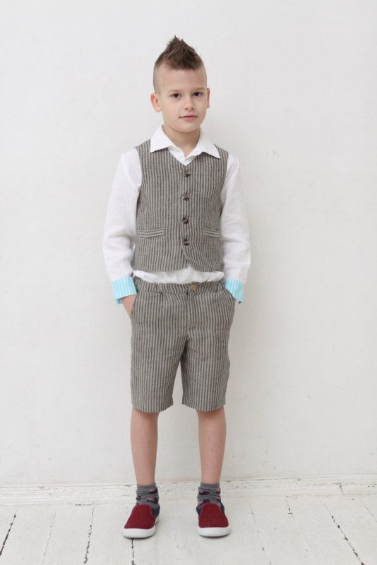 6553e46ab2d Ring bearer outfit Wedding party outfit Toddler boy vest and pants Boys  linen suit Family Photo Bapt