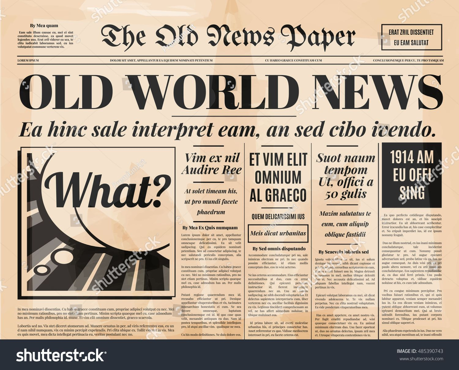 Old Newspaper Vintage Design Retro Background Vector Template With Text And Images Newspaper Template Word Newspaper Template Old Newspaper