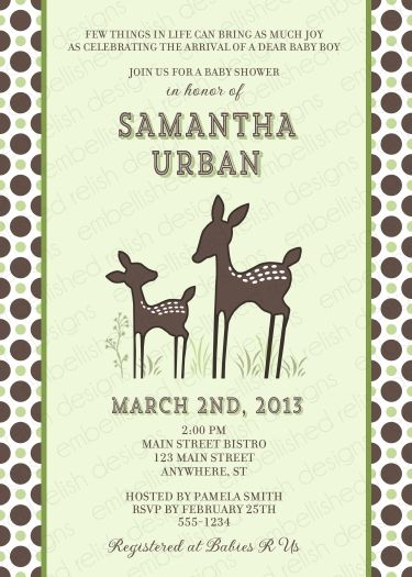 Willow Deer Baby Shower Invitation Style 2 By Kimbellished