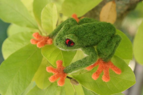 Needle Felted RedEyed Green Tree Frog by brondyblue on Etsy, $35.00