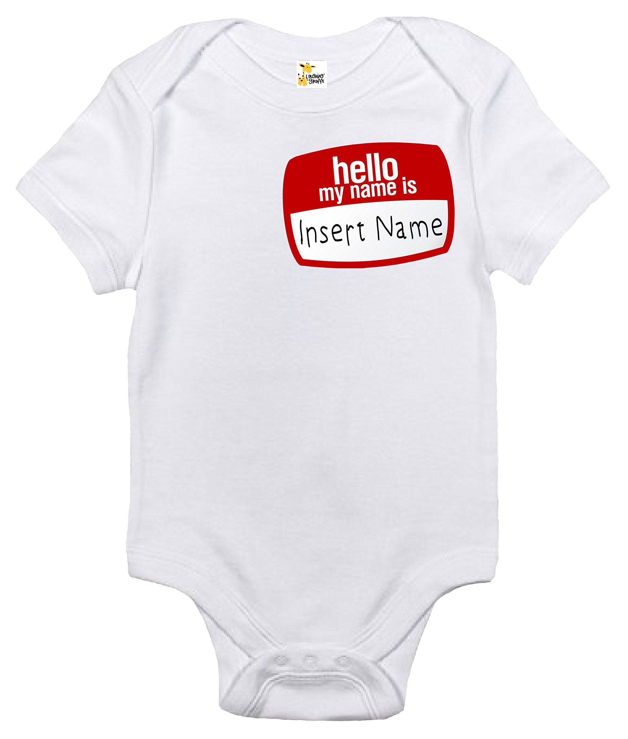 5fbb9056e7d4 Custom Personalized Hello My Name Is Baby Bodysuit Cute Infant Baby ...