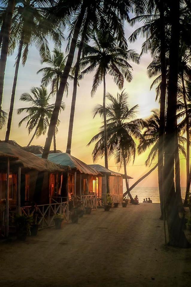Beautiful golden sunset on the beach