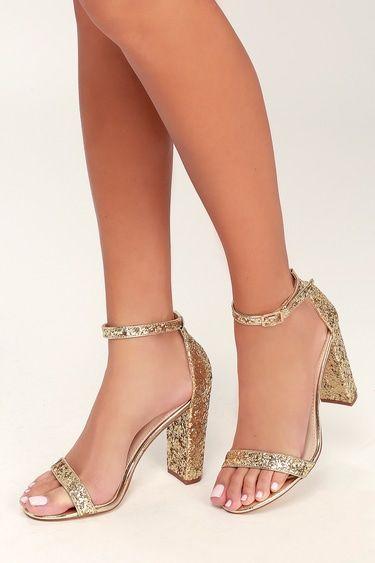 Taylor Glitter Gold Ankle Strap Heels
