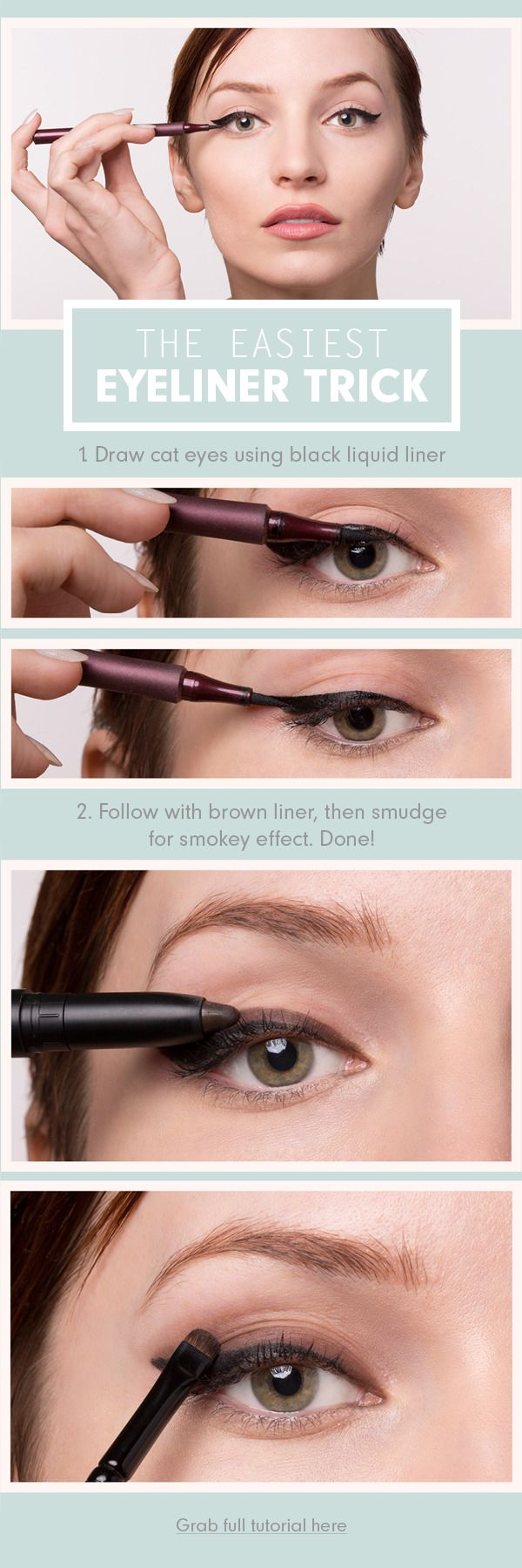Day-appropriate cat eye: Start with regular winged black liner, then add a layer of brown eyeliner along the top. Smoke out with fingers or brush, and you're done!
