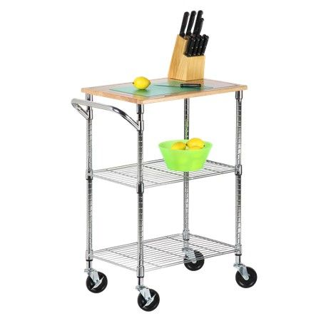 2 Shelf Rolling Kitchen Cart With Cutting Board Top