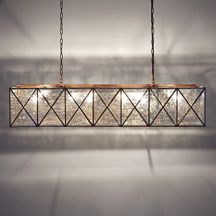 Truss 49 Rectangle Chandelier In Antique Copper Dining