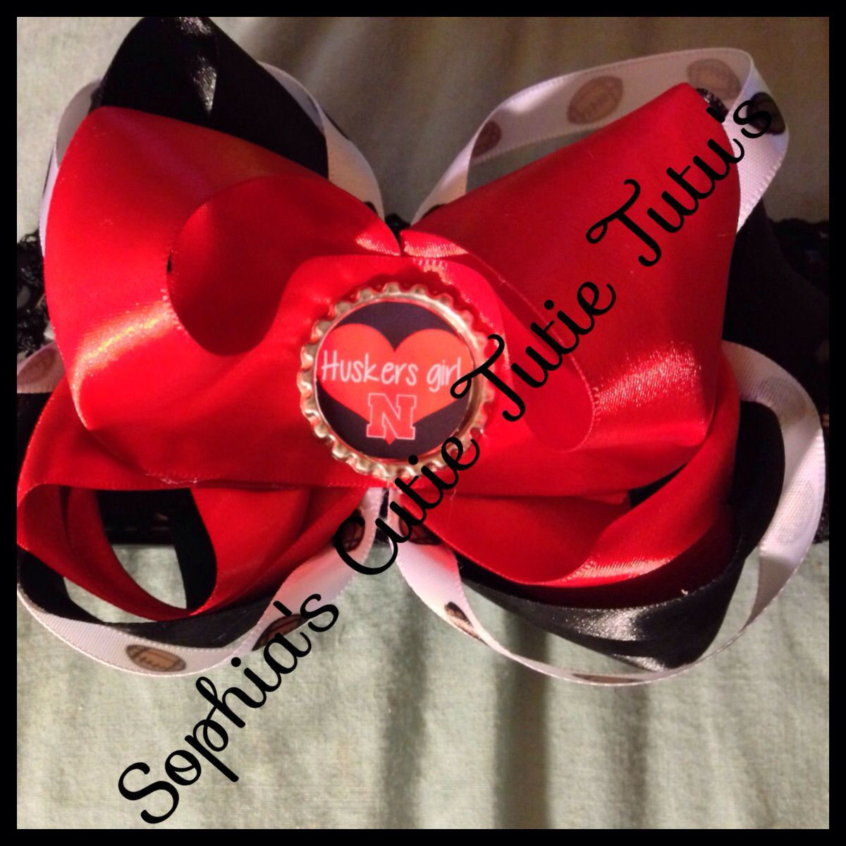 Husker hair bow done by me tutus pinterest hair bow and tutu