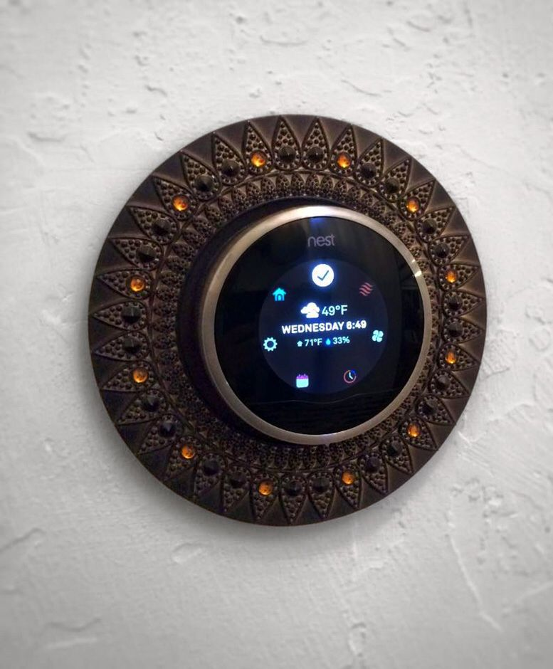 Found An Old Round Photo Frame To Dress Up Our Nest Thermostat Nest Thermostat Decor Thermostat Decor Thermostat Frame