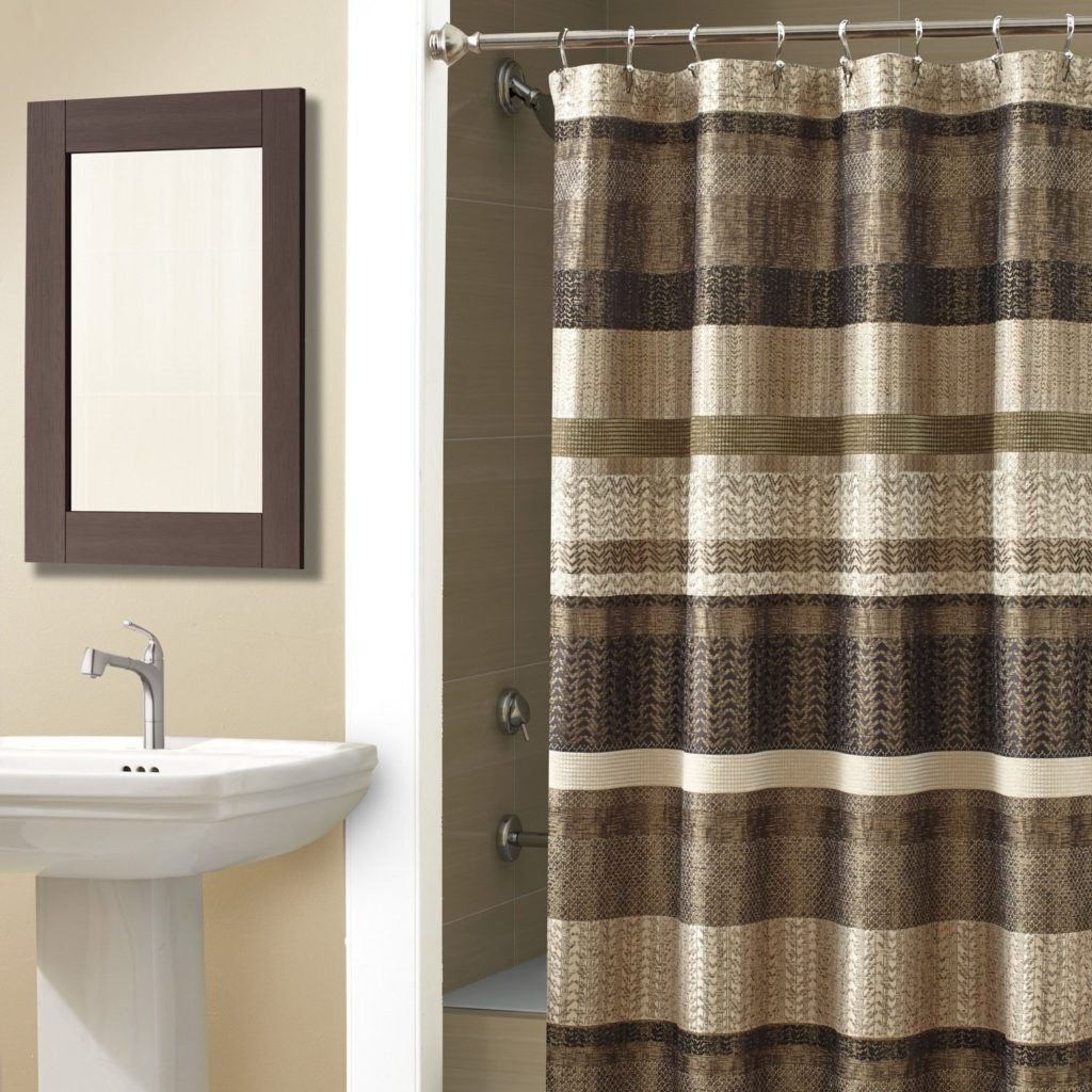 Green And Brown Striped Rustic Shower Curtains Shower Curtain