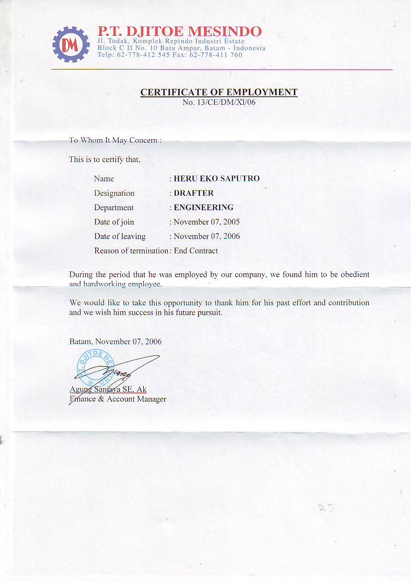example of a certificate of employment
