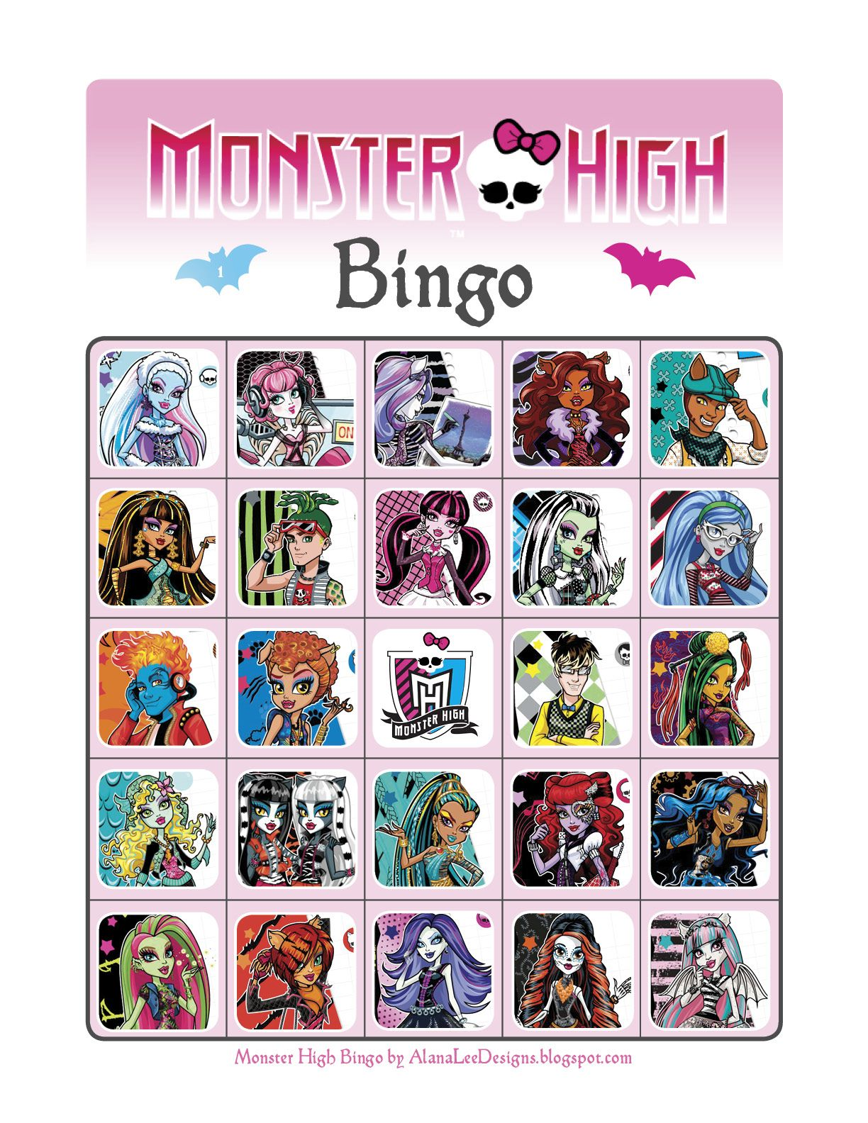 free monster high printables custom photo products with personality free monster high bingo game