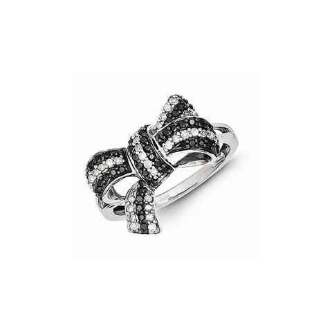Sterling Silver Black and White Diamond Bow Ring