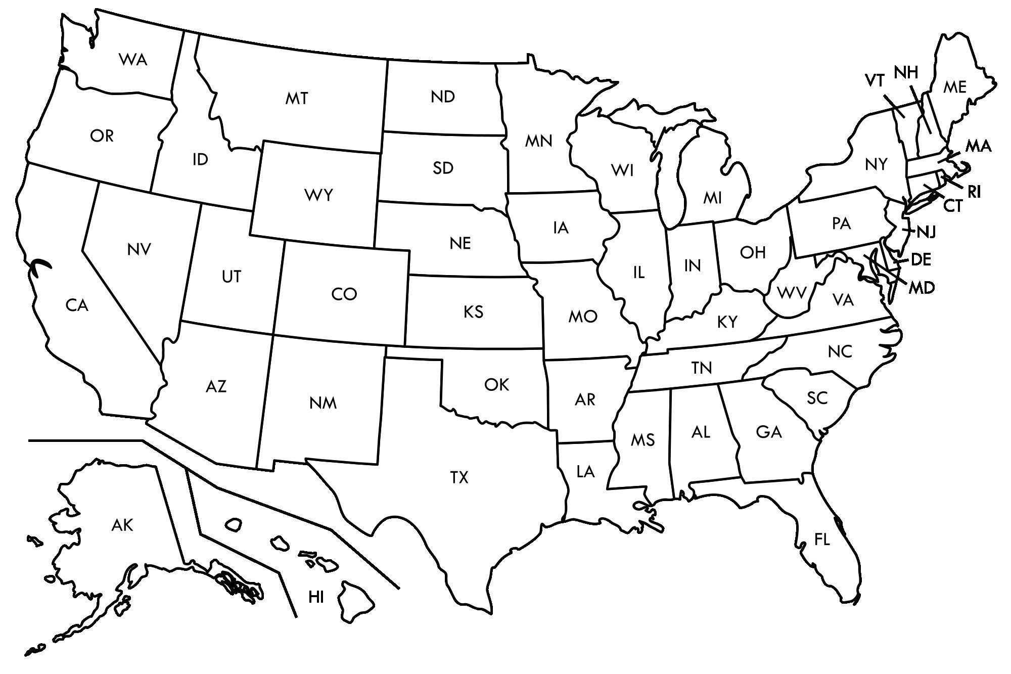 Free Map Of United States With States Labeled Free
