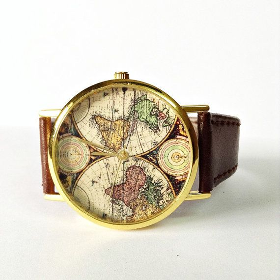 World map watch women watches mens watch leather watch boyfriend world map watch women watches mens watch leather watch boyfriend watch world map vintage style gold silver rose gift ideas gumiabroncs Images