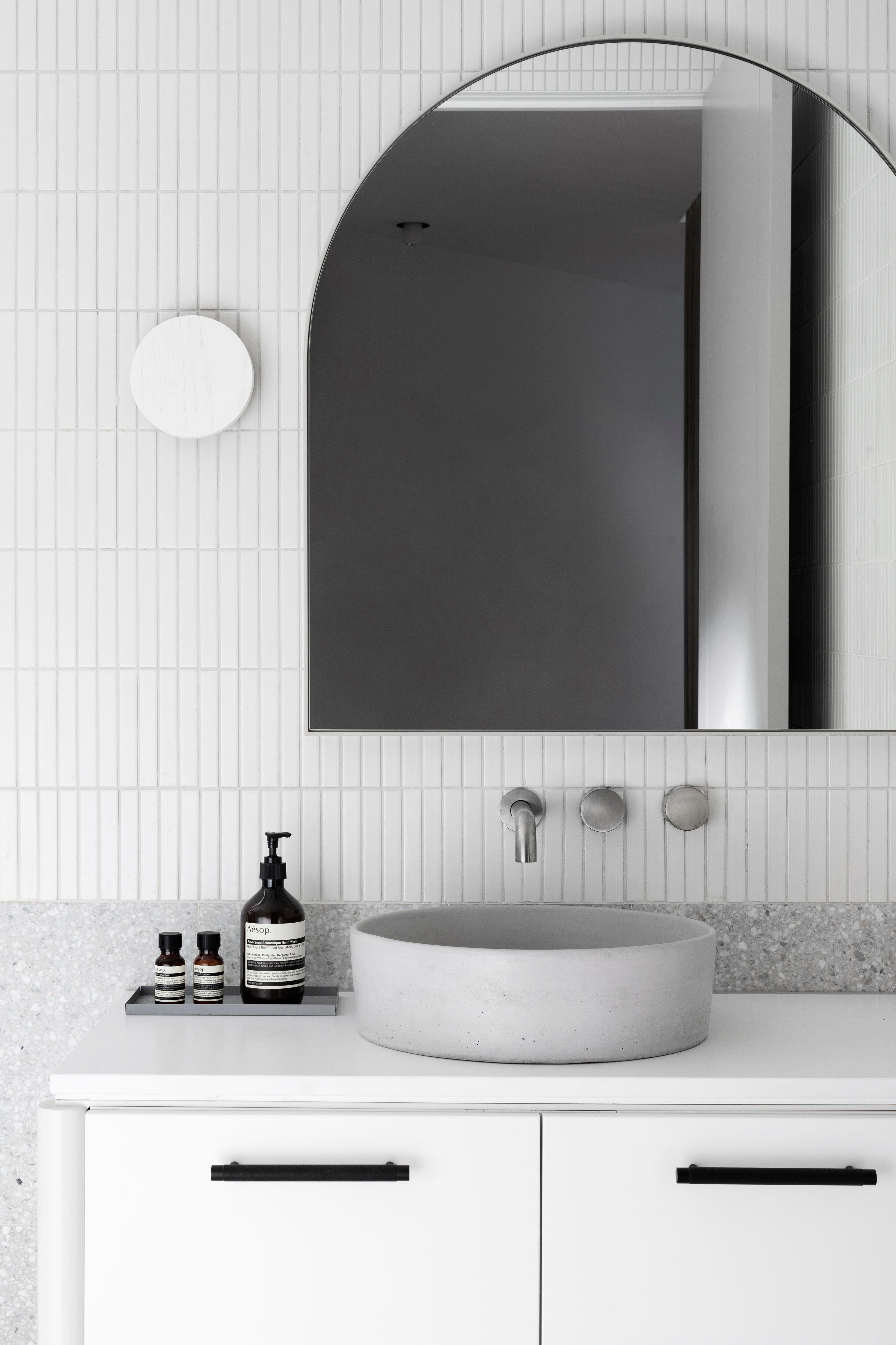 Concrete Nation Halo Basin.  #concretebasin #custombasin #concrete #basin #bathroom #renovation #bathroominterior