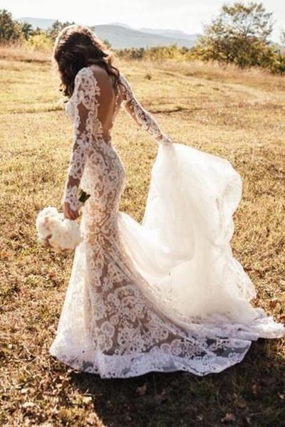 Romantic Long Appliques Backless Lace Mermaid Ivory Long Sleeve Wedding Dresses JS294