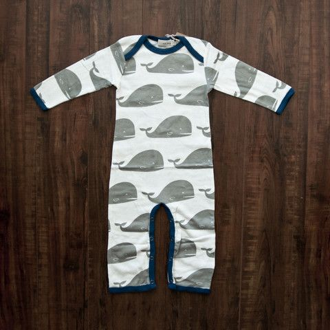 Organic Romper - Grey Whale at willobaby.com | Free shipping