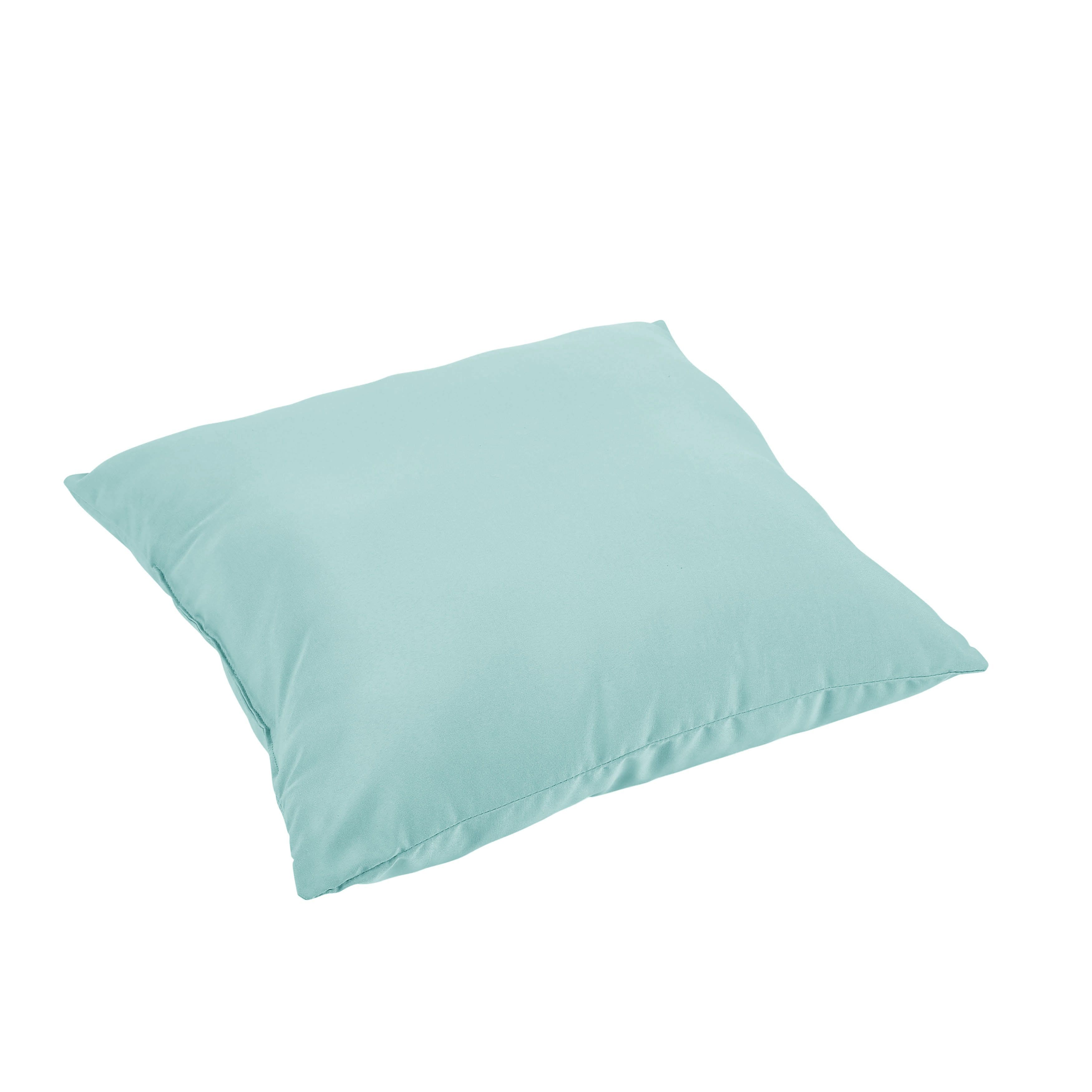 Verne Light Aqua Indoor Outdoor 26 Inch Knife Edge Floor Pillow Osps7444 Blue Polyester Solid Cushion