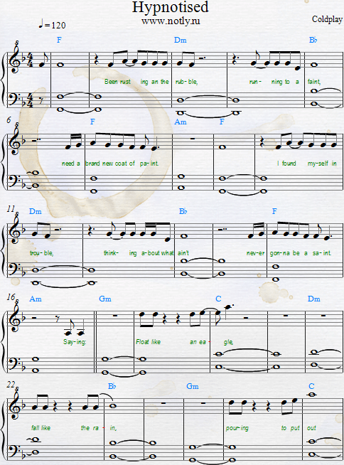 Coldplay — Hypnotised PDF Piano Sheet Music  Download