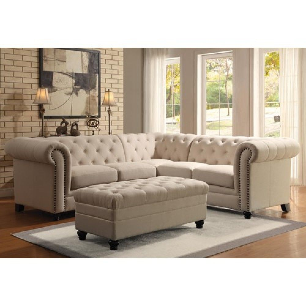Coaster roy button tufted sectional sofa 500222 more