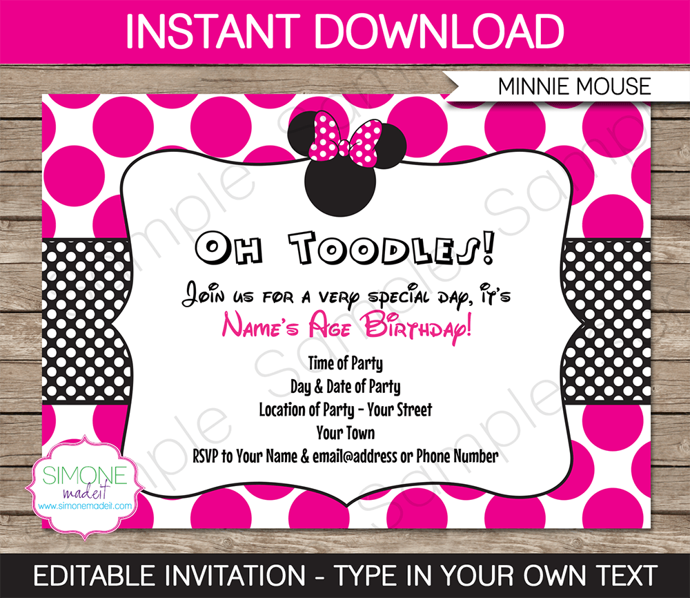 Free Editable Minnie Mouse Birthday Invitations Minnie Mouse SBA - Minnie mouse birthday invitation images
