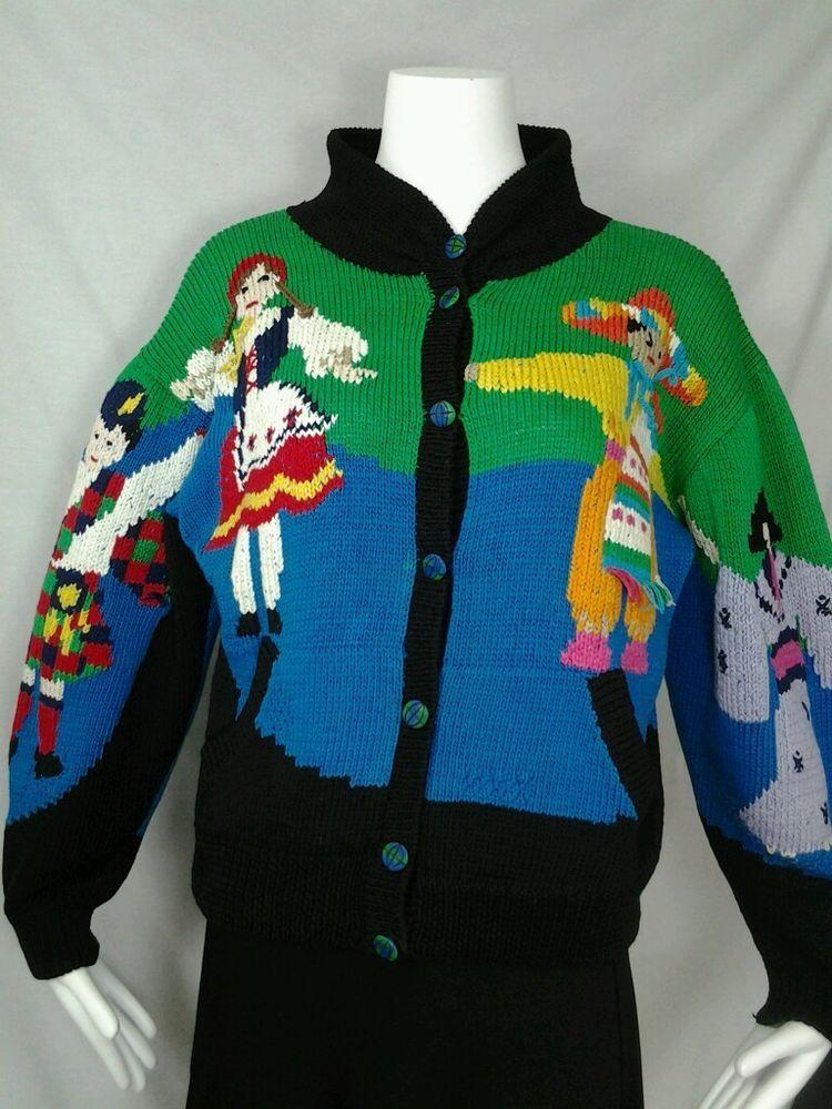 Vintage Berek Sweater sz S Marta D Sweater Geisha Indian Dutch Girls Berek  Cardigan