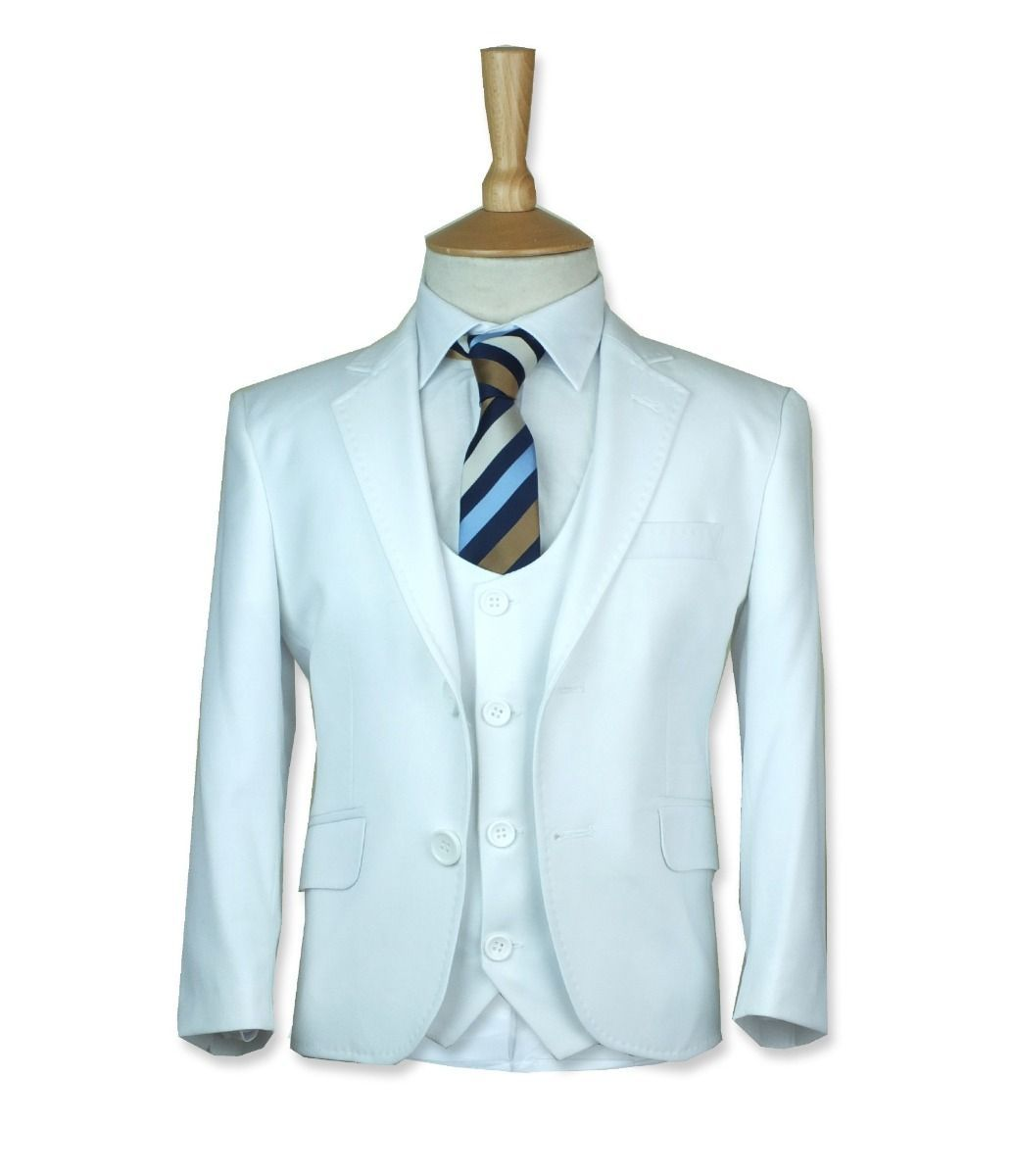 Boys White Communion Suit Designer Page Boy Wedding Slim Fit Suit in White