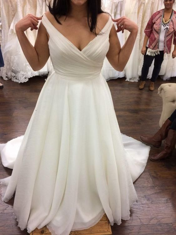 Charmante V-Ausschnitt weißen Tüll Brautkleid, elegante Brautkleider