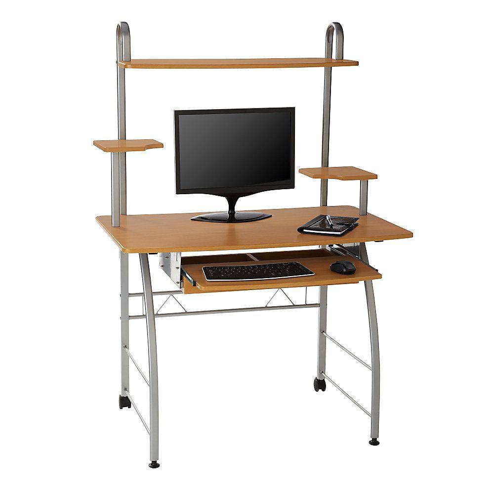 Zillope Ii Computer Desk 56 1 4 H X 39 3 8 W X 23 3 4 D Honey Maple Computer Desk Design Sales Desk Desk