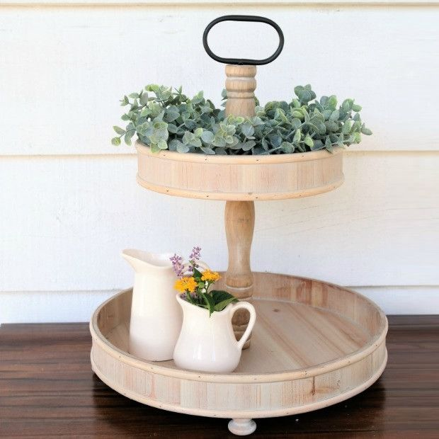 Wooden 2 Tier Round Tray Stand Round Wooden Tray Round Tray Wooden Tray