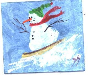 Wheeee!  Snowboarder Snowman mini painting by Jim Smeltz