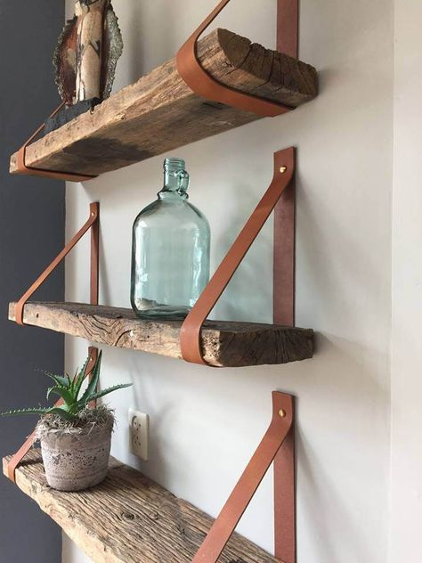 Photo of Leather shelf carriers in all colors | Unique decoration for the wall!