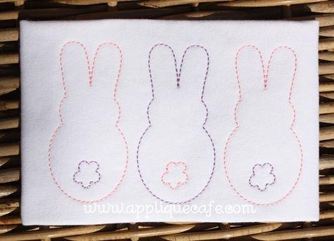 New vintage bunny trio embroidery design applique cafe