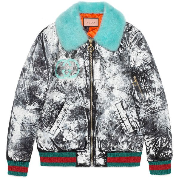 Guccighost Hand-Painted Bomber (€5.955) ❤ liked on Polyvore featuring outerwear, jackets, black, zipper jacket, oversized bomber jacket, fur jacket, fur bomber jackets and gucci
