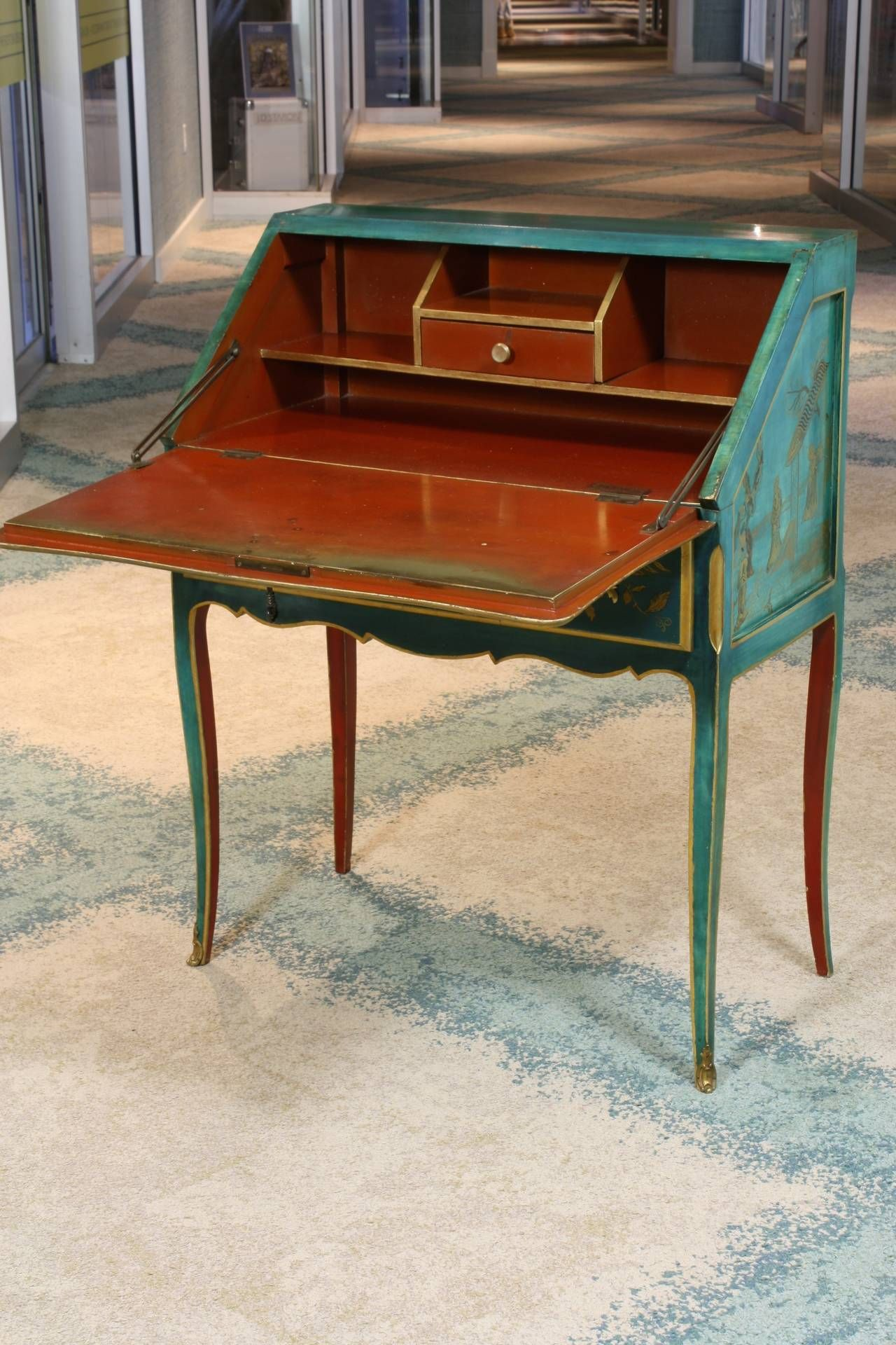 Louis Xv Style Chinoiserie Slant Top Desk With Images Foyer Furniture Chinoiserie Louis Xv