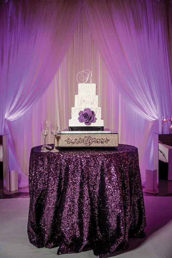 Hollywood Glam Atlanta Wedding Ashlynn Terrell Purple Wedding Cake Table Wedding Cake Table Purple Bridal Shower