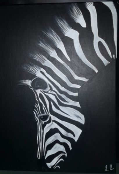 tableau peinture zebre noir blanc animaux acrylique zebre dans la pnombre